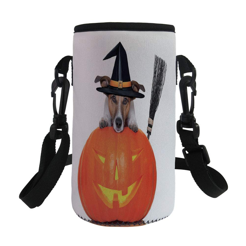 Small Water Bottle Sleeve Neoprene Bottle Cover,Halloween,Witch Dog with a Broomstick on Large Pumpkin Fun Humorous Hilarious Animal Print,Multicolor,Great for Stainless Steel and Plastic/Glass Bottle