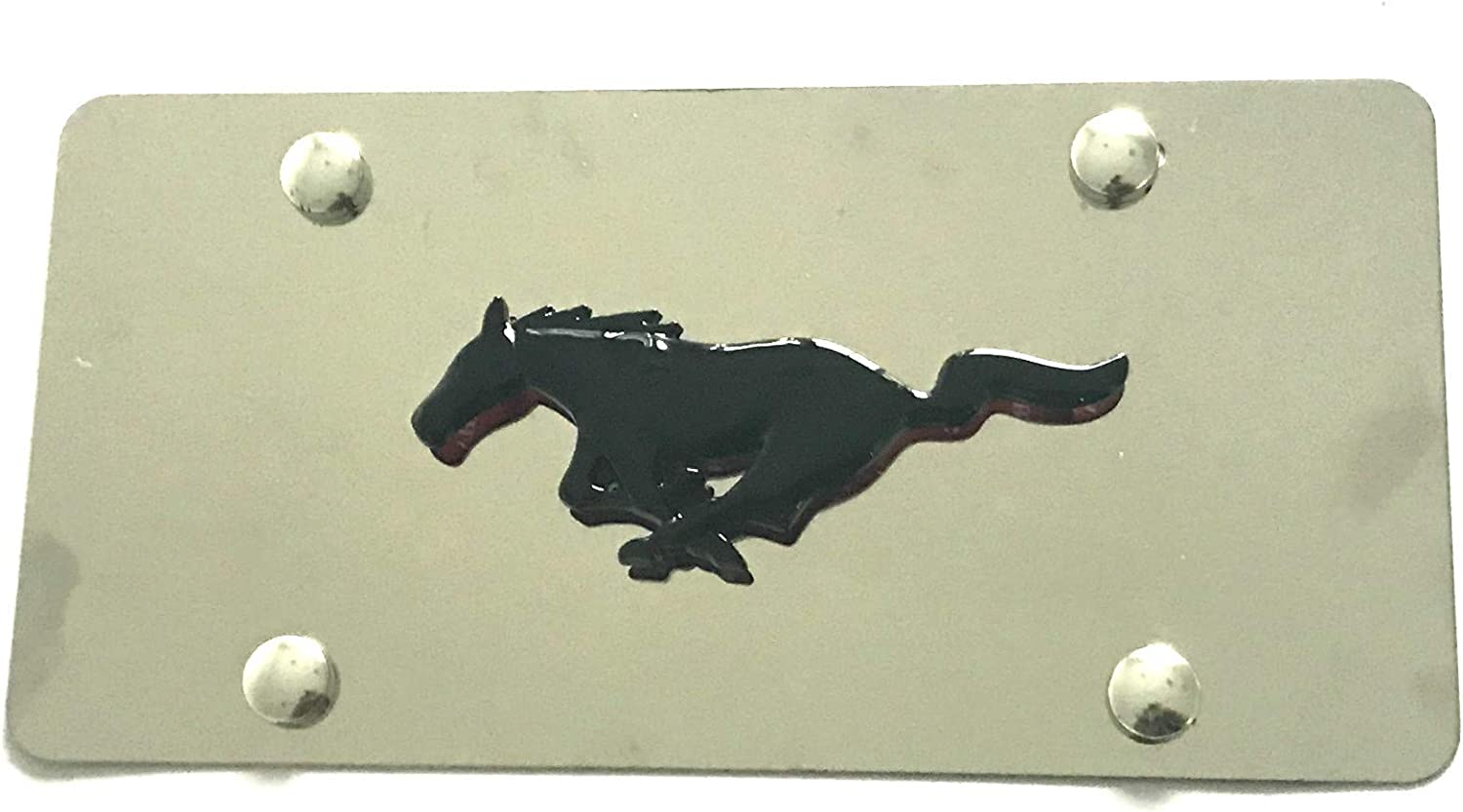 Kimoo Custom 3D Mustang Emblem Stainless Steel License Plate Tag Frame for Mustang All Black