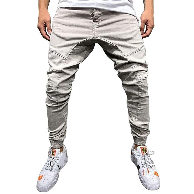 Pantalones de Hombre Casuales Chino Deporte Joggers Pants Algodón Slim Fit Jeans Cargo Trouser con Bolsillos STRIR