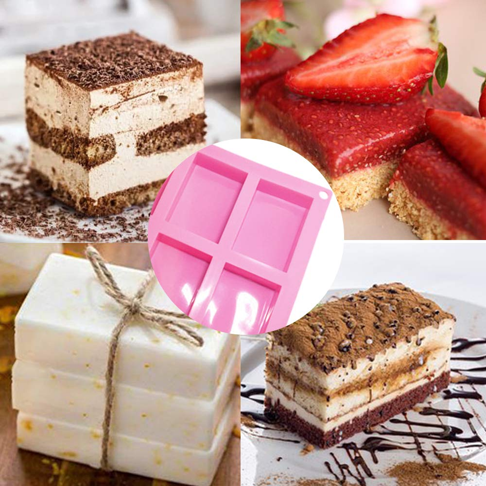 COKWO Silicone Soap Mold 3 Pack 6 Cavities Rectangle Cake Molds Pan for Baking Chocolate Jelly Pudding Dessert Molds Ice Cube Tray