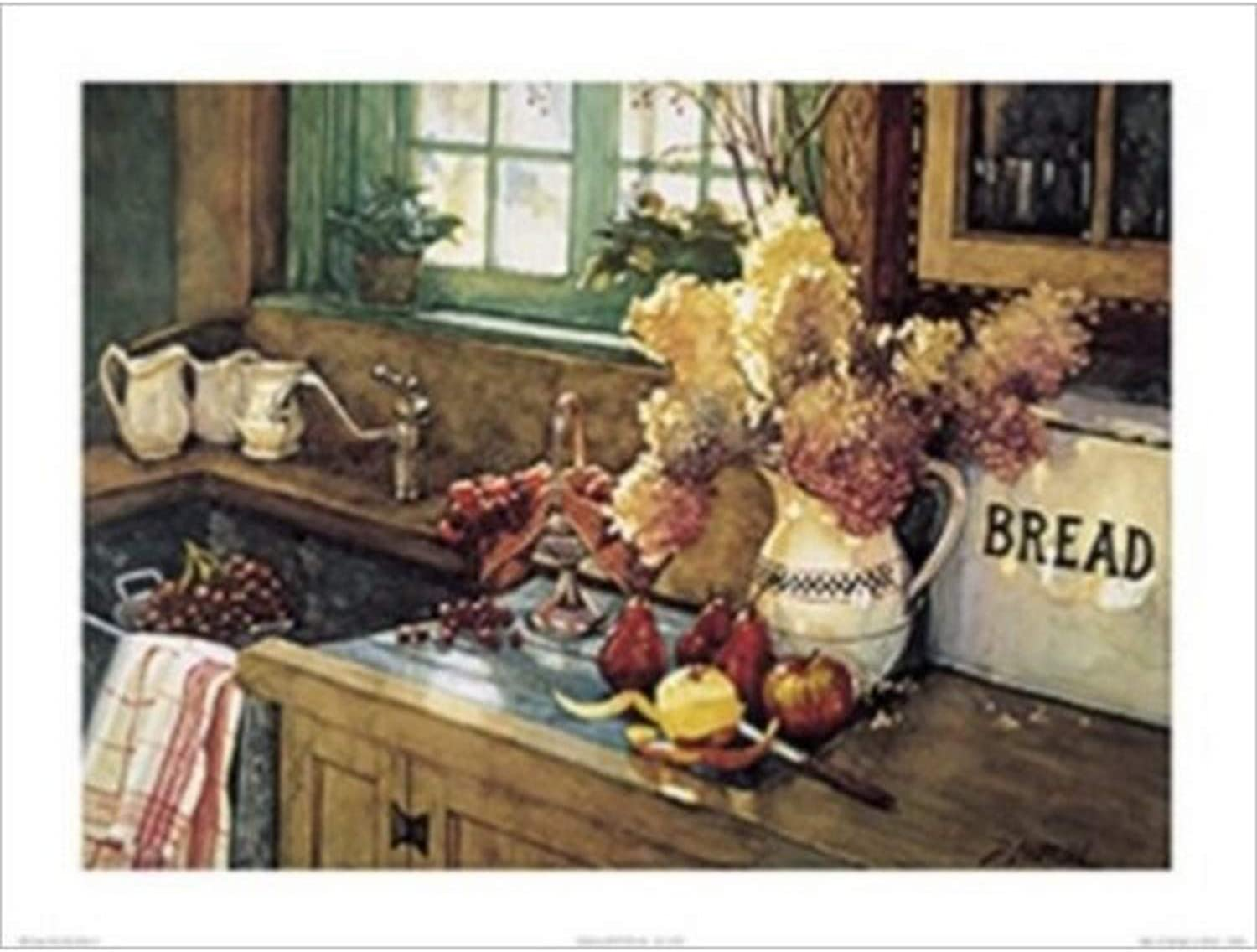 Buyartforless Apples and Hydrangea by Deborah L. Chabrian 24x18 Art Print Poster Vintage Still Life Kitchen Sink Flowers Apples Pears and Grapes