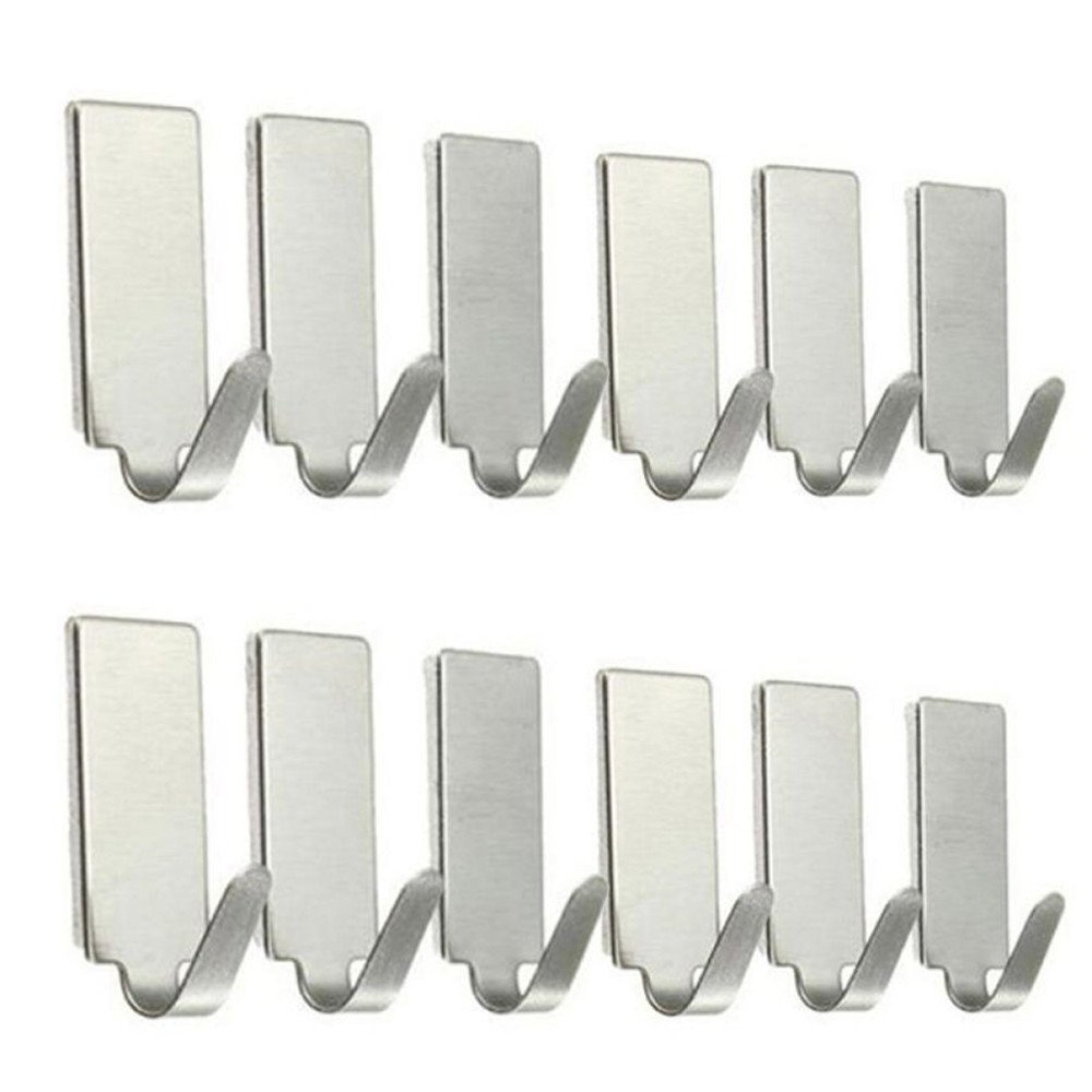 12PCS Self Adhesive Home Kitchen Wall Door Stainless Steel Holder Hook Hanger