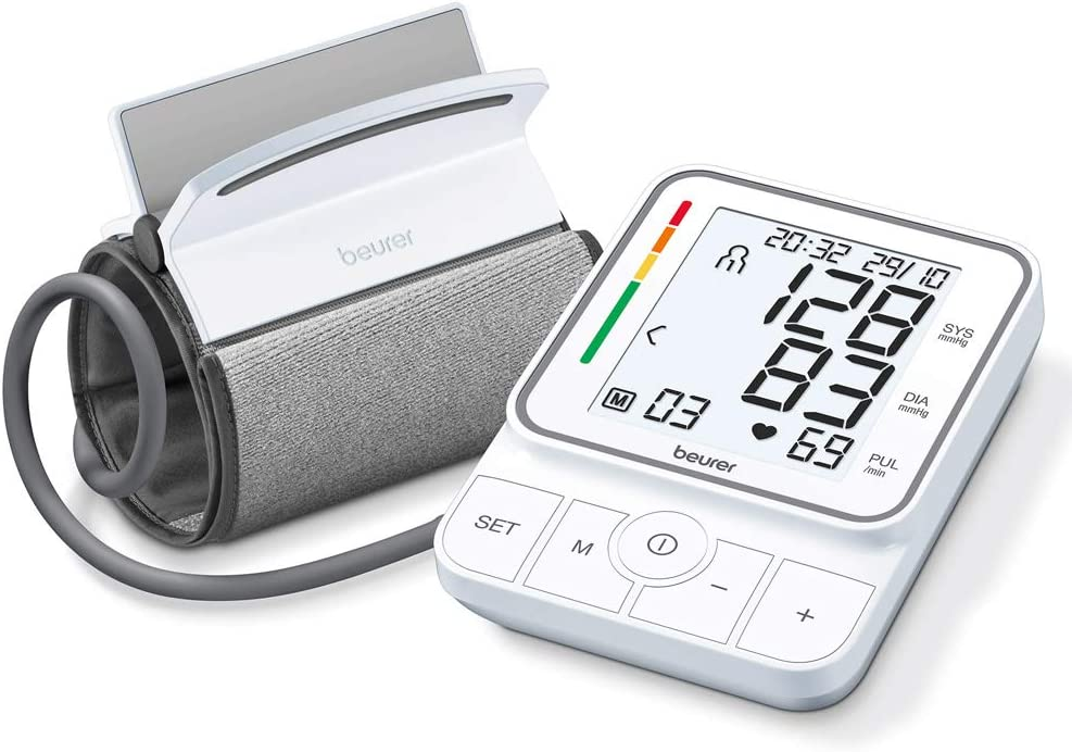Beurer BM-51 - Tensiómetro de brazo easyclip, LCD con luz blanca, manguito de brazo 22 - 42cm, 2 x 100 mediciones, detección arritmia, color blanco