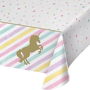 Creative Converting 329302 All Over Print Plastic Tablecover, Unicorn Sparkle, One Size, Multi Color