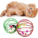 Gilroy Caged Rats Rolling Wire Cage Plush Mouse Ball Funny Cat Toy Catches The - Hide Balls Interactive Toy, Random Color