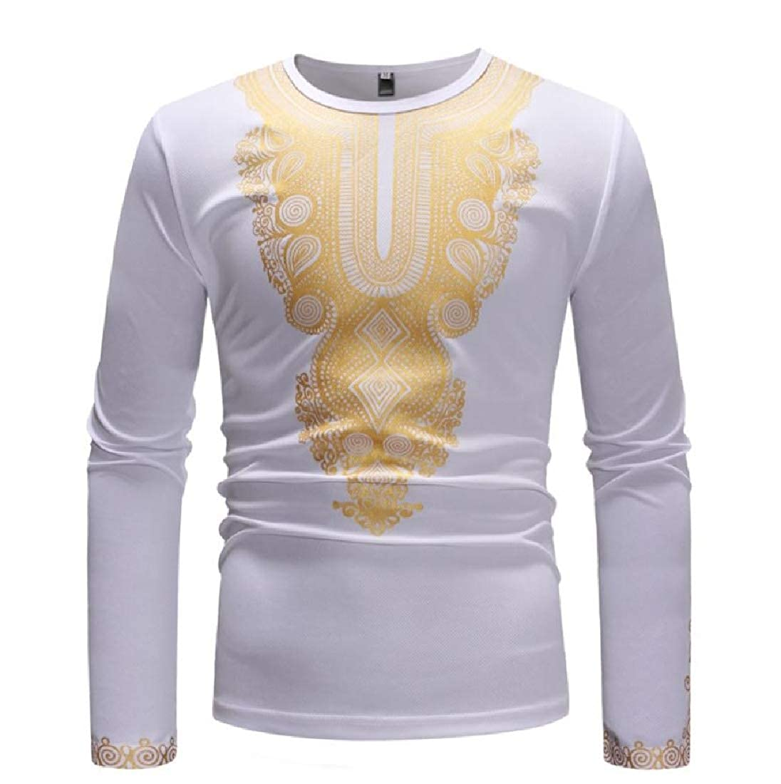 YUNY Mens African Dashiki Pullover Casual Simple Blouse Shirt White S