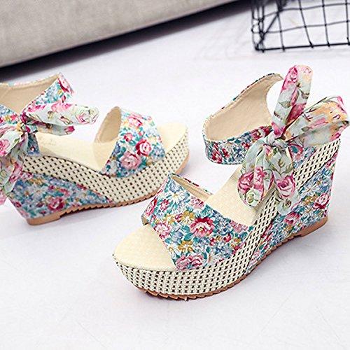 CHNHIRA Women Sandals Summer Slope Platform Wedges Shoes High-Heel Shoes Blue 0oTfEvV