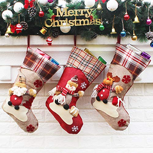 Aiduy 3 Pack 18 Christmas Stockings Decoration with Cute 3D Plush Santa Snowman Reindeer Xmas Stockings Ornament Gifts for Christmas Decorations and Family Holiday Party Decor