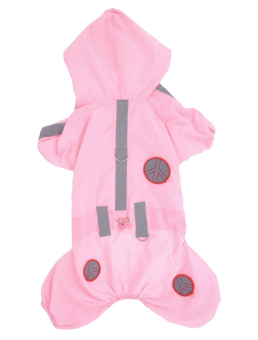 DealMux Pet Dog Yorkie Press Stud Button Hoodie Raincoat Rainwear XXS Pink