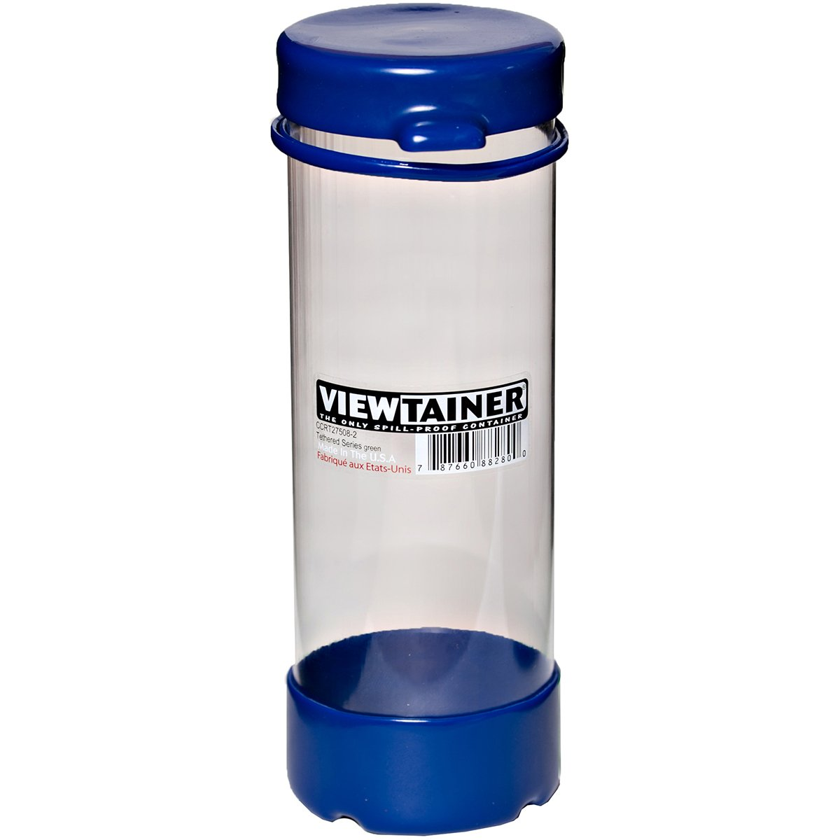 Viewtainer CCRT27508-3 Blue Tethered Cap Storage Container, 2.75X8 2.75X8
