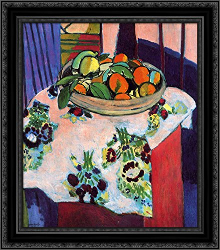 Henri Matisse Art Canvas - Basket with Oranges 20x20 Black Ornate Wood Framed Canvas Art by Matisse, Henri