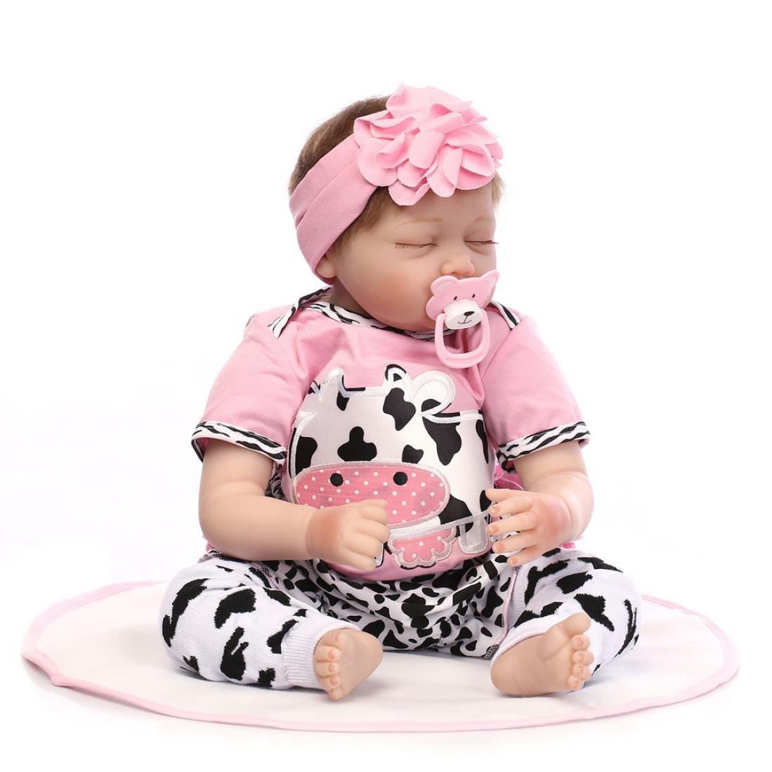 dirance Lifelike Reborn人形Sleepingソフトシリコンフルボディリアルなピンクガールズ人形ビニールreallike新生児赤ちゃん人形with Clothes 55 cm、子供ギフトfor Ages 3 +、under 100ドル F DR  ピンク B07BVTNMSC