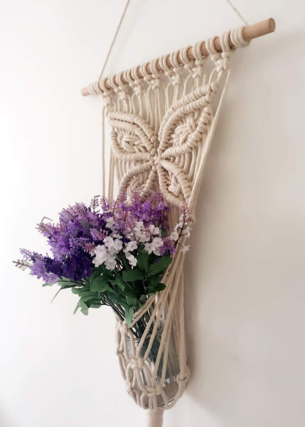 LSHCX Macrame Handmade Flower Plant Hanger Wall Art Home Decorative Art