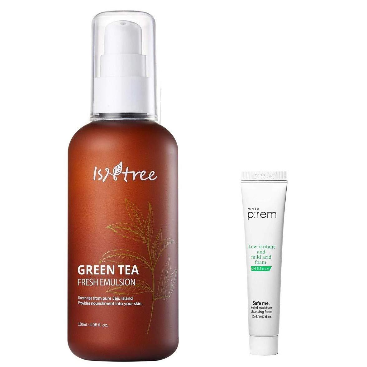 ISNTREE Green Tea Fresh Facial Emulsion 120ml, 4.06 fl. oz. with Cleansing Foam Mini | Deep Moisturizing | Sebum Control | Refreshing| Fine Skin Texture | Hypoallergenic | Dermatologist Tested |