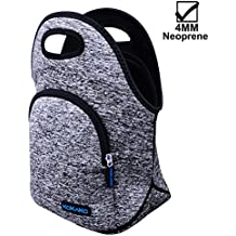 KOKAKO Lunch Boxes Neoprene Lunch Bag by Tote Washable Insulated Waterproof for Men Women Kids(GrayBlue-WithPocket)
