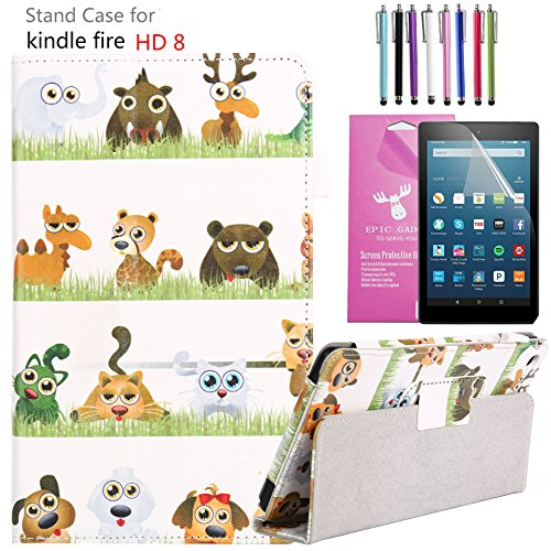 Animal Screen (EpicGadget PU Leather Folding Folio Case with Screen Protector and Random Color Stylus for Fire HD 8 (Previous 6th Gen) (2016) (Animal Kingdom))
