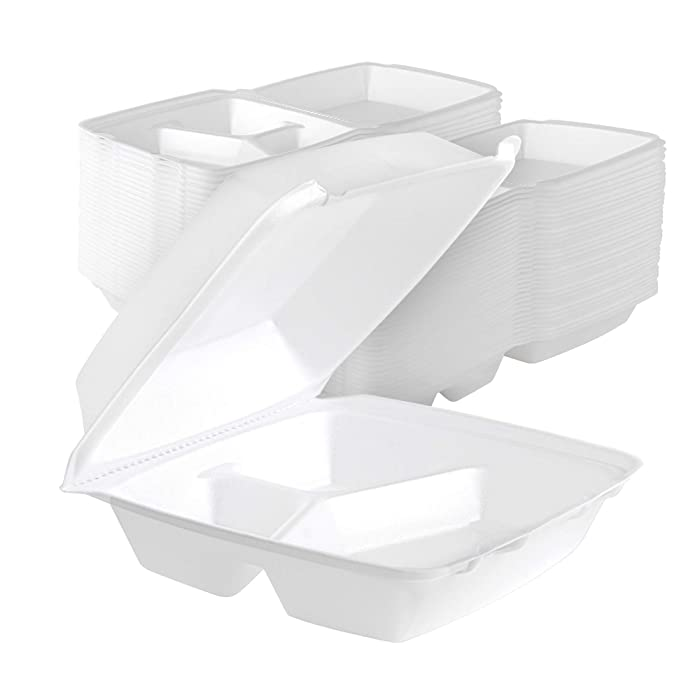 Stock Your Home 8 Inch Clamshell Styrofoam Containers (25 Count) - 3 Compartment Food Containers - Large Carry Out Container for Food - Clamshell Take Out Containers for Delivery, Takeout, Restaurants