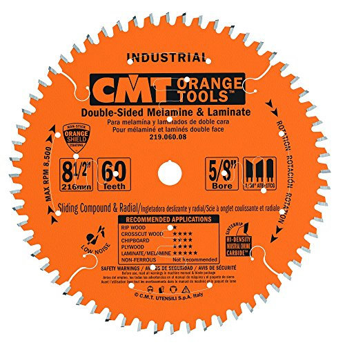 Industrial Radial Arm Saw - CMT 219.060.08 Industrial Sliding Compound Miter & Radial Saw Blade, 8-1/2-Inch x 60 Teeth 4/30° ATB+1TCG Grind with 5/8-Inch Bore, PTFE Coating