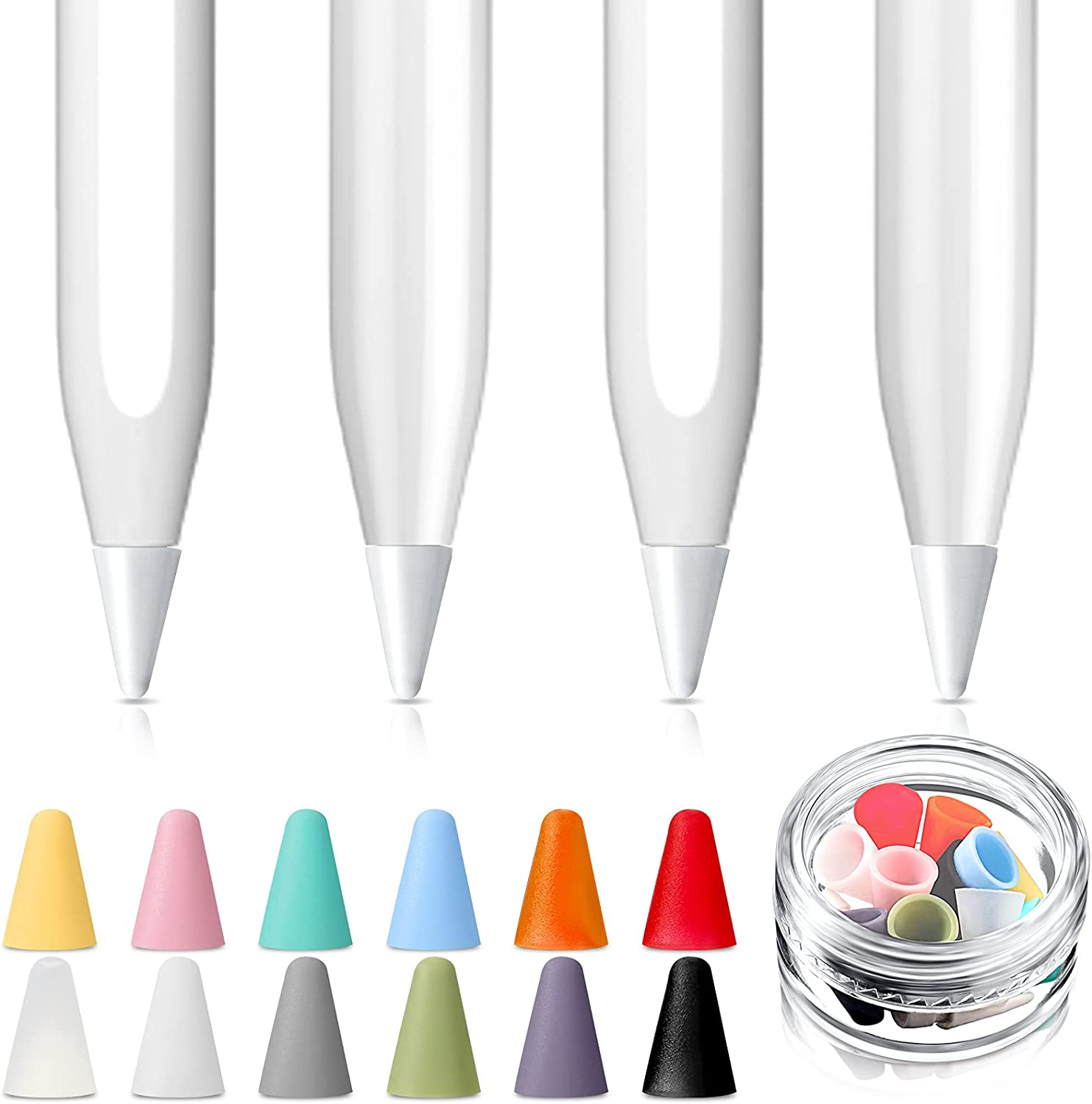 4 Pieces White Replacement Tips Pen Nibs Compatible with Apple Pencil 1st and 2nd Gen and iPad Pro with 12 Pieces Silicone Nibs Caps, 12 Colors