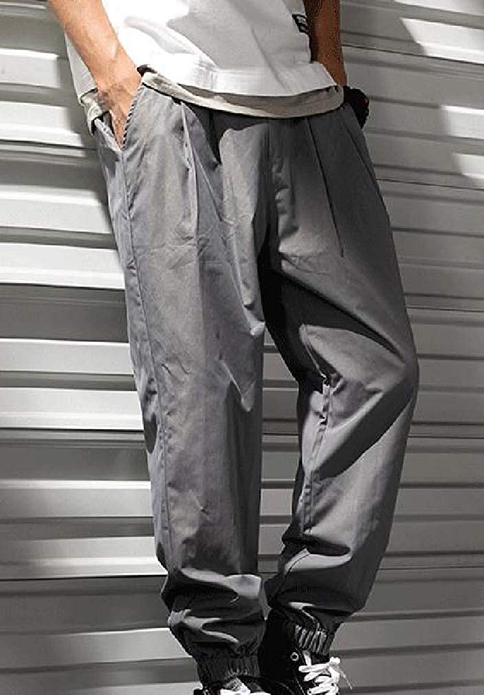 Mfasica Men Elastic-Waist Fit Harem Pants Loose Casual Pants