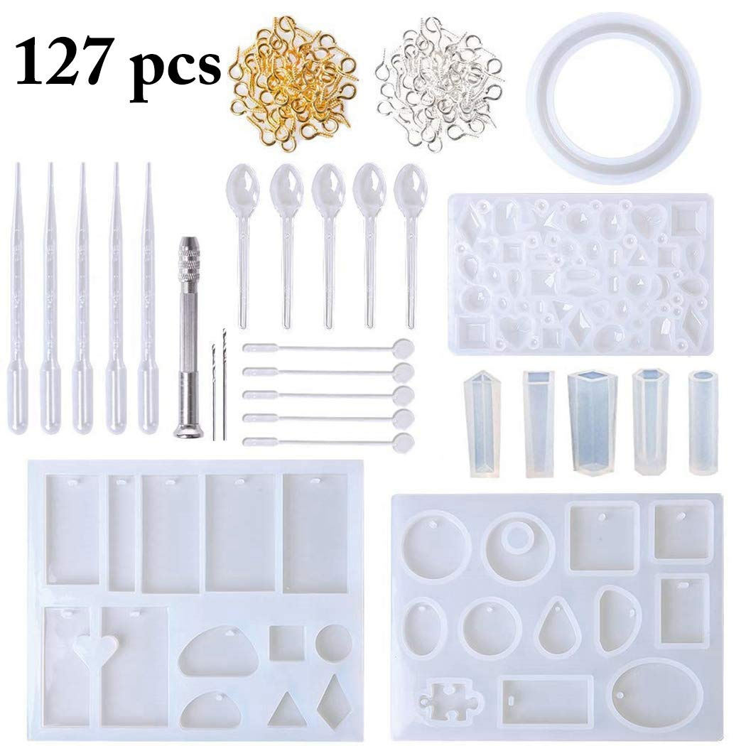 Resin Molds for Jewelry, Outgeek 10 Pack DIY Jewelry Casting Molds Silicone Resin Jewelry Molds with 5 Stirrers, 5 Spoons, 5 Droppers for Jewelry Pendants Bracelet Making for Women Girls Kids(25PCS)