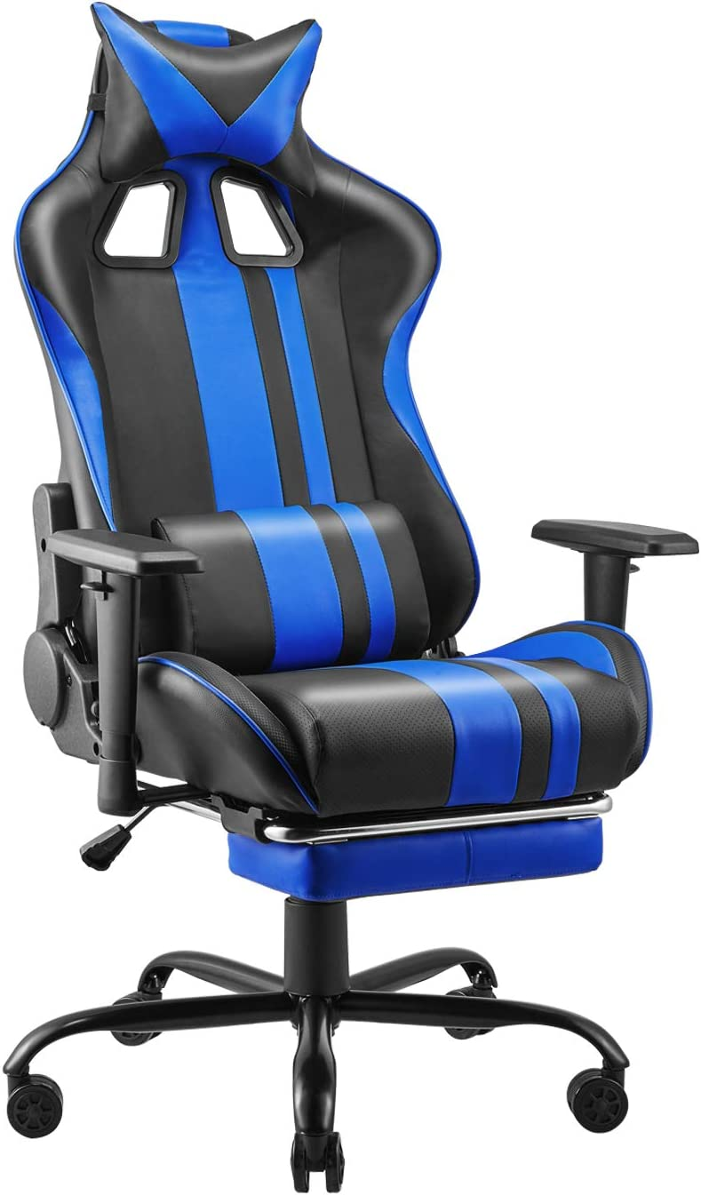 Soontrans PU Leather Desk Chair,PC Gaming Chair,E-Sports Chair,Racing Style Office Chair with Height and Armrest Adjustment,180° Tiltable,Retractable Footrest,Headrest and Lumbar Support(Royal Blue)