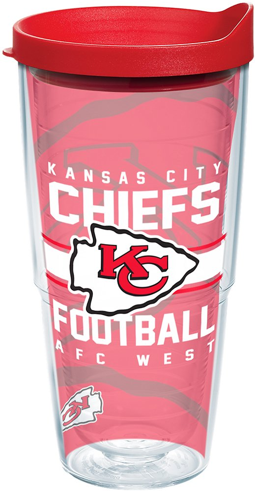 Tervis 1180514 NFL Kansas City Chiefs Gridiron Tumbler with Wrap and Red Lid 24oz Clear