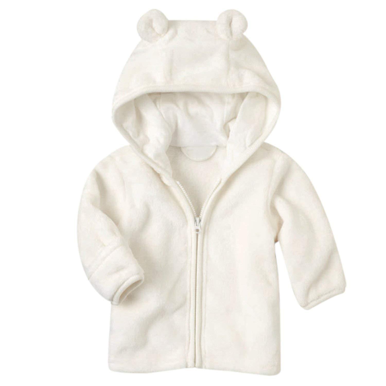Noubeau Infant Baby Boys Girls Fleece Ears Hat with Lined Hooded Zipper Up Jacket Coat Tops Outwear Overcoat Warm Fall Winte (White, 0-6 Months) by Noubeau