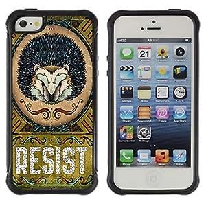 Hybrid Anti-Shock Defend Case for Apple iPhone 5 5S / Cool Hedgehog Resist