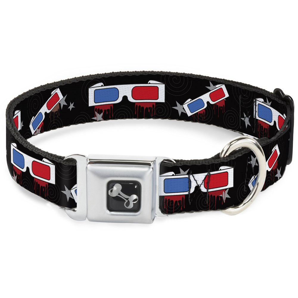 Buckle-Down Seatbelt Buckle Dog Collar 3-D Glasses Dripping w Stars 1.5  Wide Fits 16-23  Neck Medium