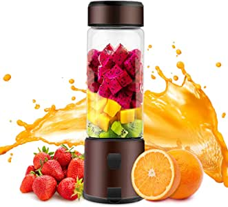 Portable Blender, TOPQSC Smoothie Blender 15oz USB Rechargeable 5200mAh, Personal Blender with Durable Glass, Stainless blades 16500rpm, Perfect for Shakes,Smoothies and Baby Food, FDA/ BPA Free (Brown)