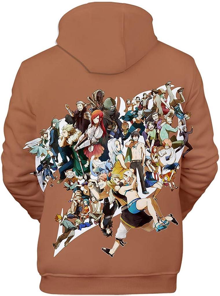 KIACIYA Stampa 3D Fairy Tail Felpa con Cappuccio per Uomo Donna,Fairy Tail Felpa Tinta Unita Pullover Hoodie Manica Lunga per Ragazza Ragazzo