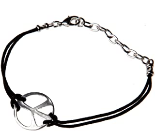 product image for Medium Peace Symbol Silver-Dipped Adjustable Cord Bracelet