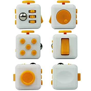 Yellow White Fidget Cube Relieves Stress And Anxiety For Children Adults With KeyChain Amazonca Home Kitchen