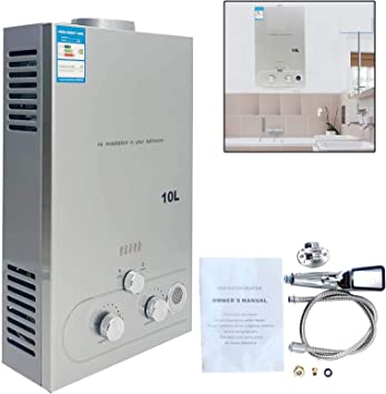TABODD 10L 20KW LPG Calentador de agua de propano, calentador de agua instantáneo portátil sin tanque, quemador de caldera con cabezal de ducha de ...