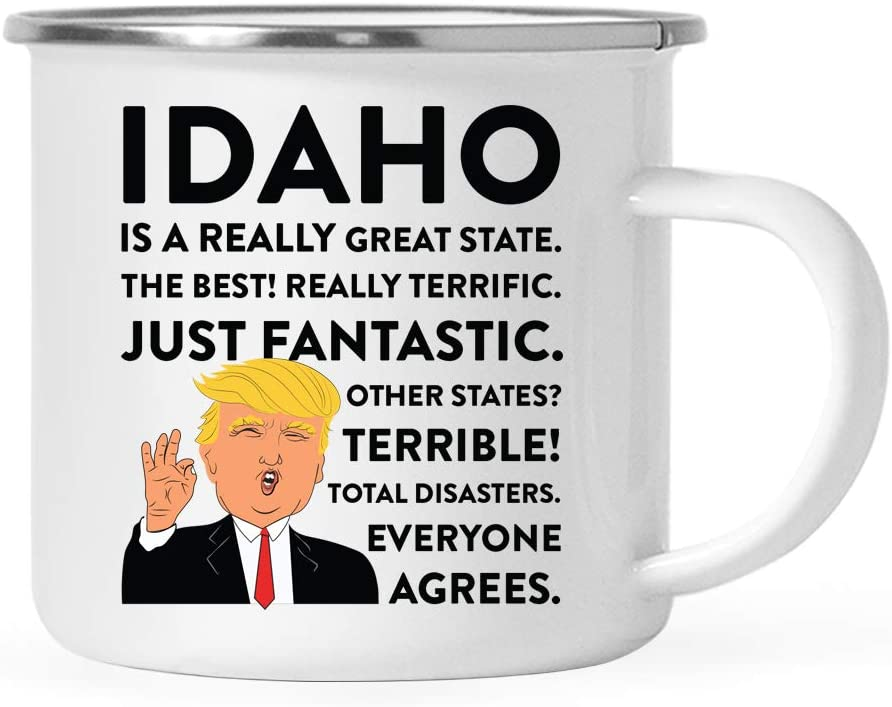 Andaz Press Funny President Donald Trump 11oz. Stainless Steel Campfire Coffee Mug Gift, Idaho is a Really Great State, 1-Pack, Long Distance College Going Away Birthday Christmas Gifts