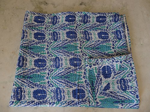 Handmade Pure Cotton Bedspread Queen Size Quilt Kantha Stitch Kantha Quilt Indian Bed Cover Reversible Throw Quilt