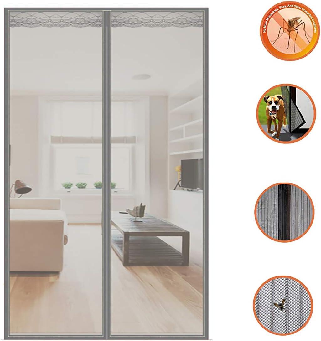 HANING Mosquitera Puerta Enrollable Terraza Grande, Exterior Corredera, Instalación Fácil, Ventilación, Anti-Mosquito, Velcro-Gris,Gray,90x230cm(35x91inch): Amazon.es: Hogar