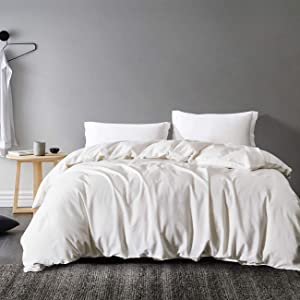 """David's Home Washed 55% Linen 45% Cotton Duvet Cover Set King Size - 3 PCS - Lightweight Breathable, Luxury Soft, Vintage Bedding Set with Corner Ties, Button Closure - 106"""" x92"""", White"""