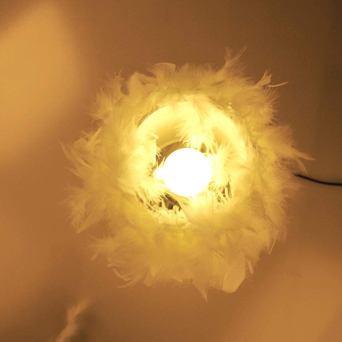 ONEVER Lampe de bureau en cristal /à plume blanche avec fiche europ/éenne