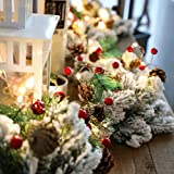 Christmas Garland with Lights, Red Berry Pine Cone Garland Lights Battery Operated, led Garland String Lights, Christmas Decorations for Home, Garland for Fireplace (Green+red)