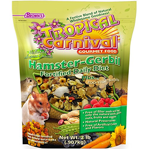 Tropical Carnival F.M. Brown's Natural Hamster-Gerbil Food, Vitamin-Nutrient Fortified Daily Diet, NO Filler Seeds, NO Artificial Colors or Flavors, (Tropical Carnival Hamster Food)