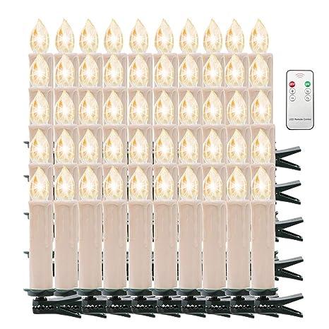 Tama/ño:20PCS CCLIFE 20//30 piezas Vela led /Árbol con mando velas de navidad led colores Candle luces Mando a distancia con clips para Adorno Color:Beis