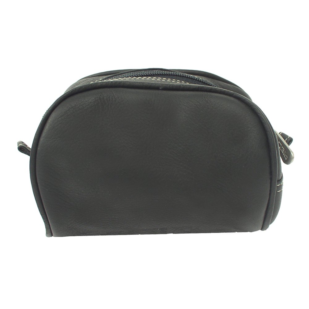 Piel Leather Cosmetic Bag, Black, One Size