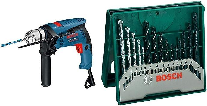 Bosch Professional GSB 13 RE - Taladro percutor, juego de accesorios, en caja, 600 W + Bosch Mini X-Line - Set de 15 brocas mixto: mini x-line: Amazon.es: Bricolaje y herramientas