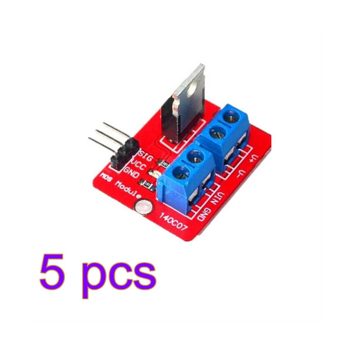 Kentop, IRF520, modulo driver MOSFET per transistor Arduino Raspberry ARM, Rosso 1, 5 pezzi