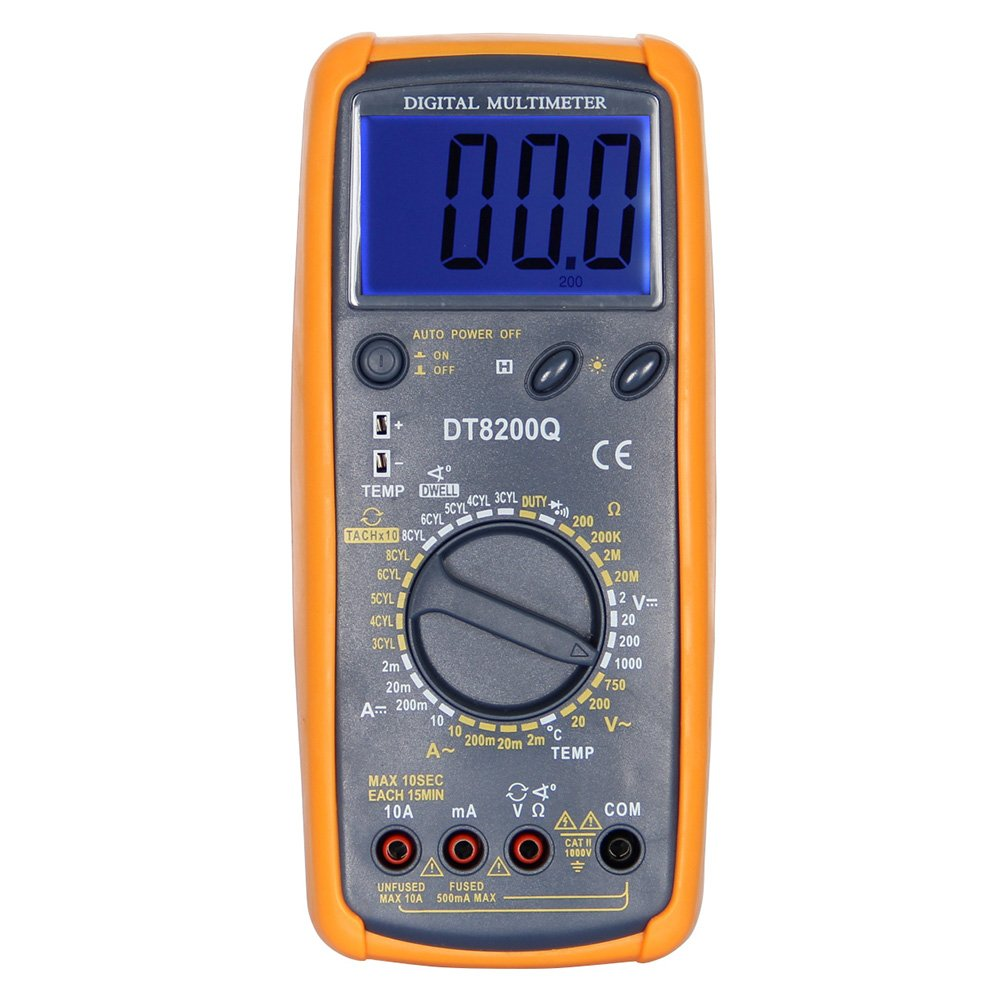 OLSUS DT-8200Q LCD Handheld Digital Multimeter for Home and Car - Gray