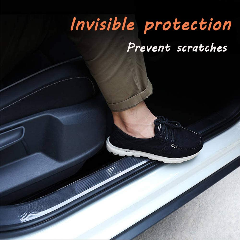Bumper Protector Car Door Edge Guard 5D Carbon Fiber Wrap Film Waterproof Anti-Collision Strip for Car Door Guard//Front and Rear Bumper//Door Sill Protector 1.18in X 393in