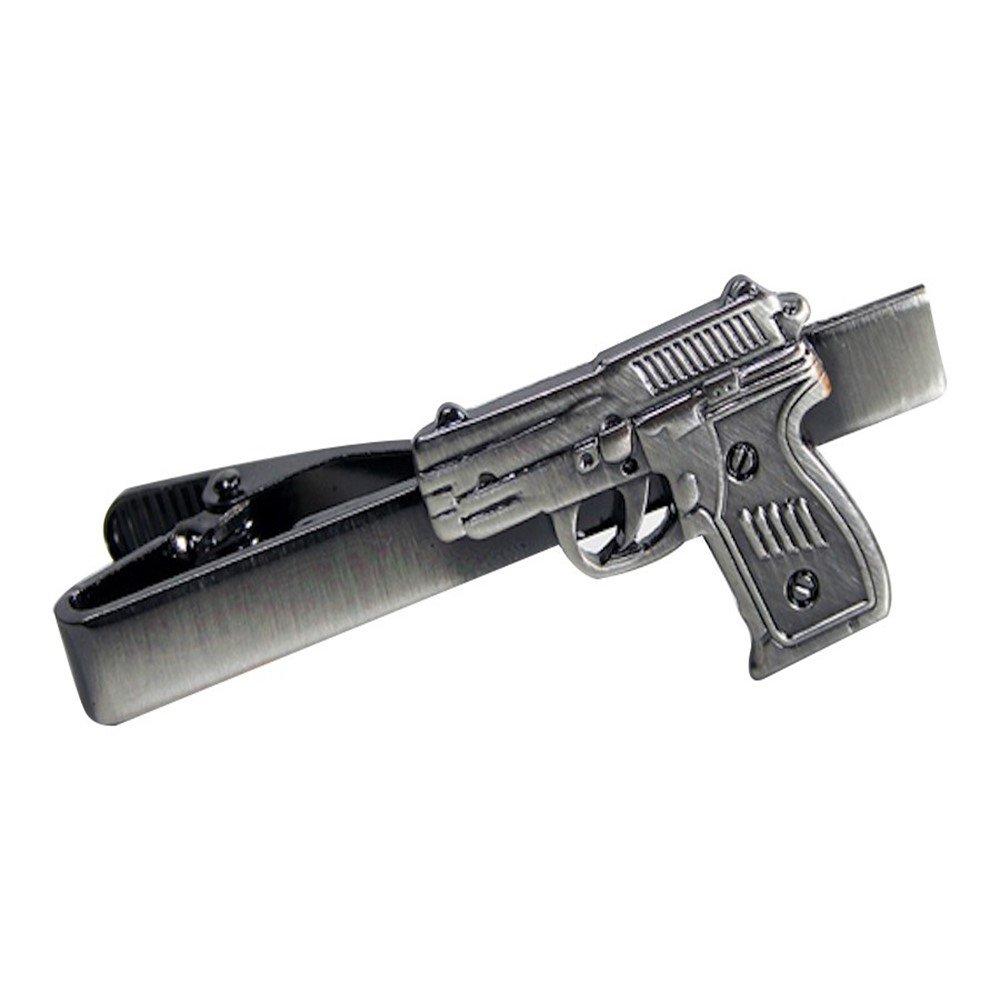 Hand Gun Ammo Pistol Revolver Tie Clip Silver Black Wedding Bar Clasp