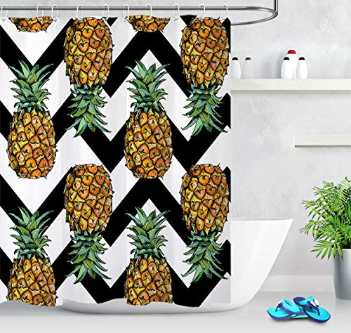 LB Pineapple on Black White Chevron Pattern Decor Shower Curtain for Shower Stall, Modern Tropical Theme Print, Water Repellent Bath Curtain, 70 x 70